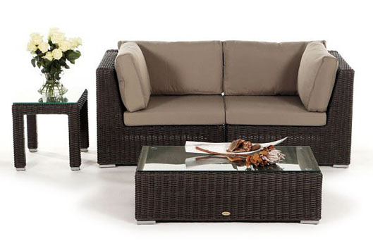 Rattan lounge  Small Poly-Rattan Lounge - Garden Furniture